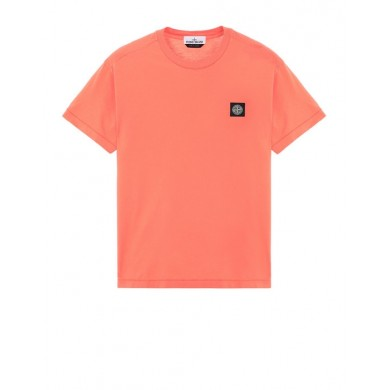 Stone Island 24113 Patch Logo Tee Orange Red