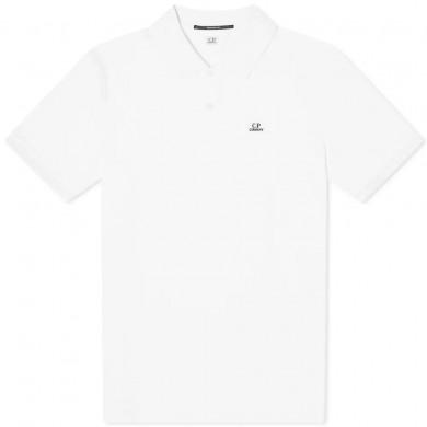 C.P. Company Stretch Pique Logo Polo Shirt Gauze White