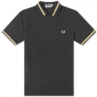 Fred Perry Reissues Original Single Tipped Polo Black & Champagne