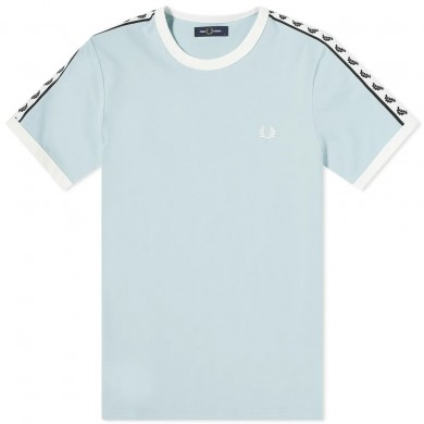 Fred Perry Authentic Taped Ringer Tee Chalk Blue