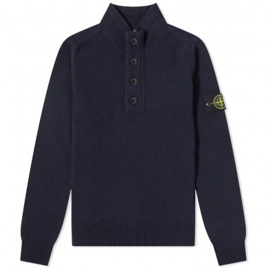 Stone Island 540A3 Lambswool Half Button Knit Navy Blue