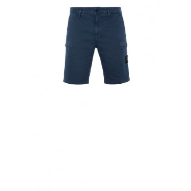 Stone Island L0504 Cargo Bermuda Shorts Stretch Cotton Garment Dyed Blue Marine
