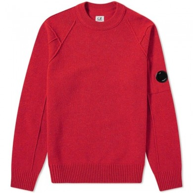 C.P. Company Arm Lens Lambswool Crew Knit Pompeian Red