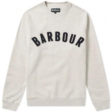 Barbour Prep Logo Crew Mens Sweatshirt Ecru Marl