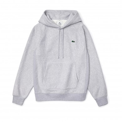 Lacoste Live Hooded Kangaroo Pocketed Sweatshirt Grey