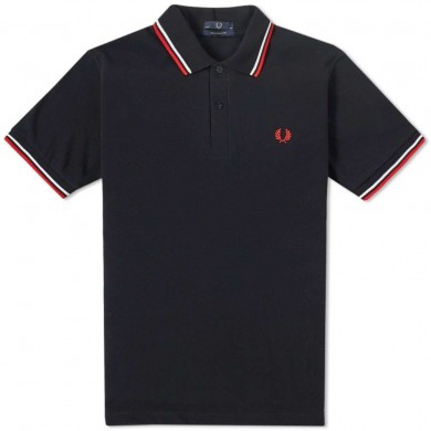 Fred Perry Reissues Original Twin Tipped Polo Black, White & Red