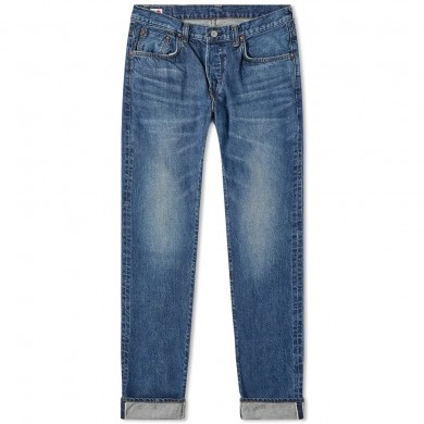 Edwin Regular Tapered Jeans - Made in Japan - Blue Mid Used L32