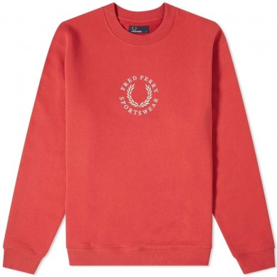 Fred Perry Embroidered Logo Sweat Washed Red