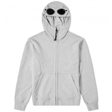 C.P. Company Heavyweight Fleece Goggle Zip Hoody Grey Melange