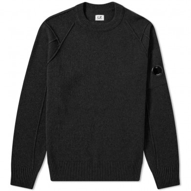 C.P. Company Arm Lens Lambswool Crew Knit Black