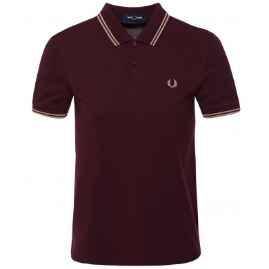 Fred Perry Slim Fit Twin Tipped Polo Mahogany & Warm Stone