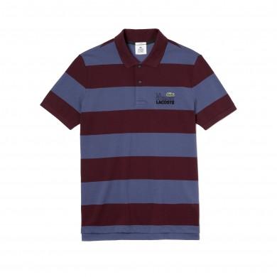 Lacoste Live Stripe Polo Shirt Blue & Bordeaux