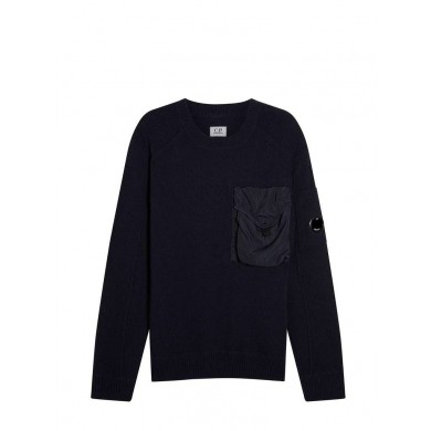 C.P. Company Lambswool Mixed Chrome Pocket Crew Sweat Total Eclipse