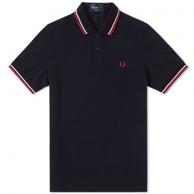 Fred Perry Slim Fit Twin Tipped Polo Navy, White & Red