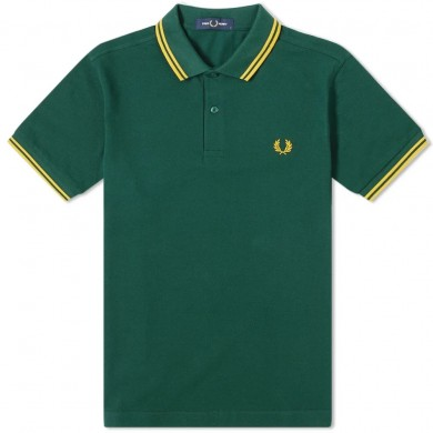 Fred Perry Slim Fit Twin Tipped Polo Ivy & Gold