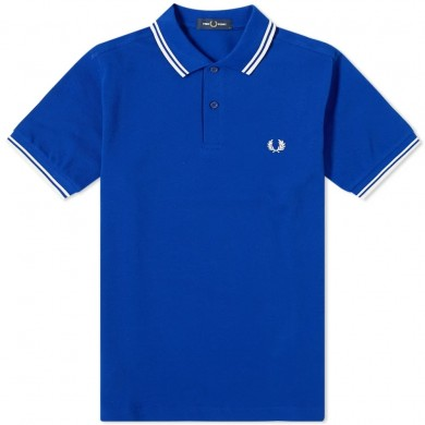 Fred Perry Slim Fit Twin Tipped Polo Bright Regal & Snow White