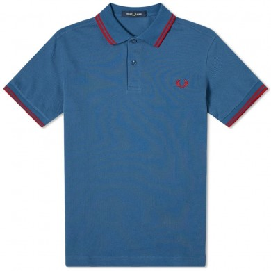 Fred Perry Slim Fit Twin Tipped Polo Midnight Blue & Siren Red