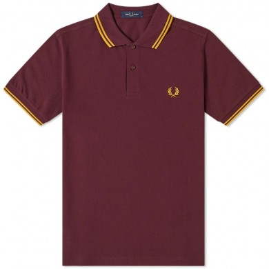 Fred Perry Slim Fit Twin Tipped Polo Mahogany & Gold