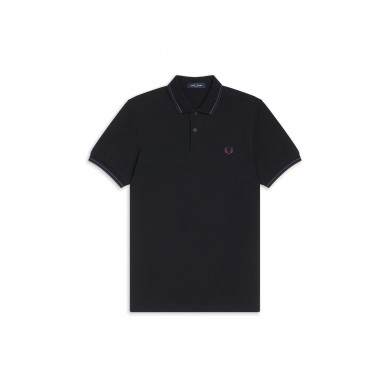 Fred Perry Slim Fit Twin Tipped Polo Black, Mid Blue & Mahogany