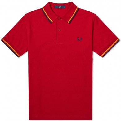 Fred Perry Slim Fit Twin Tipped Polo Siren Red, Gold & Blue