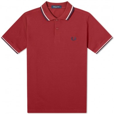 Fred Perry Slim Fit Twin Tipped Polo Dark Red