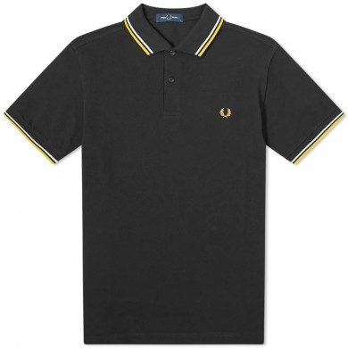 Fred Perry Slim Fit Twin Tipped Polo Black, Yellow & White