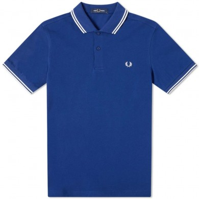 Fred Perry Slim Fit Twin Tipped Polo Medium Blue & Snow White