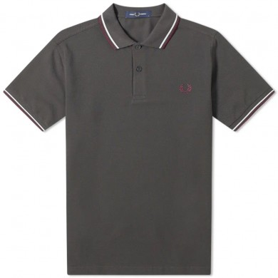 Fred Perry Slim Fit Twin Tipped Polo Anthracite & White