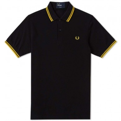 Fred Perry Slim Fit Twin Tipped Polo Black & Yellow