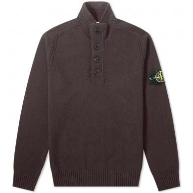 Stone Island 540A3 Lambswool Half Button Knit Dark Brown