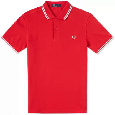 Fred Perry Slim Fit Twin Tipped Polo Red & White