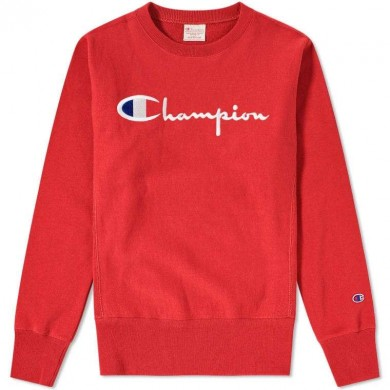 Champion Reverse Weave Script Logo Crew Sweat Red