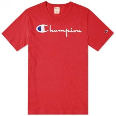 Champion Reverse Weave Script Logo Tee Red