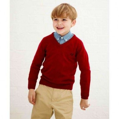 Fred Perry Kids V-Neck Red
