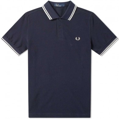 Fred Perry Slim Fit Twin Tipped Polo Carbon Blue & Black Oxford