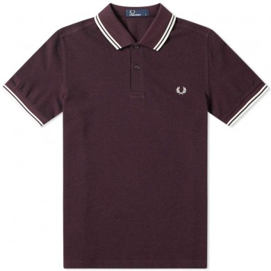 Fred Perry Slim Fit Twin Tipped Polo Shiraz & Black Oxford