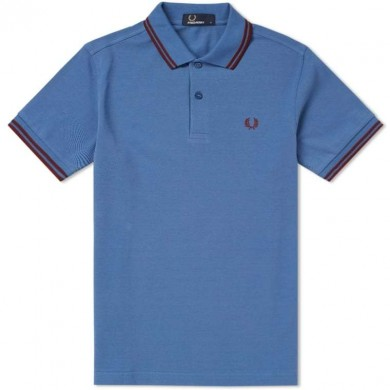Fred Perry Slim Fit Twin Tipped Polo School Blue & Red
