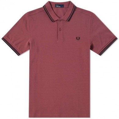 Fred Perry Slim Fit Twin Tipped Polo Crushed Berry & Black