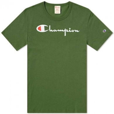 Champion Reverse Weave Script Logo Tee Bottle Green