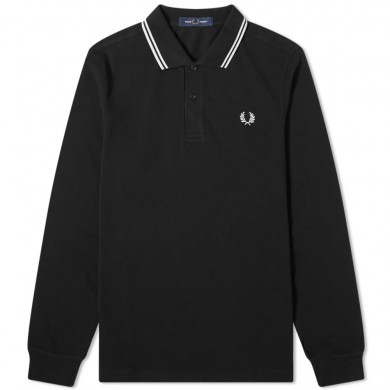 Fred Perry Authentic Long Sleeved Twin Tipped Polo Black