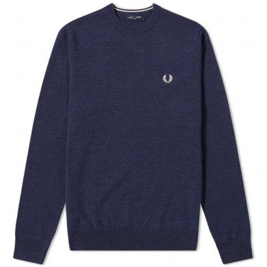 Fred Perry Authentic Classic Crew Knit Dark Carbon