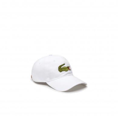 Lacoste Contrast Strap Crocodile Cotton Cap White