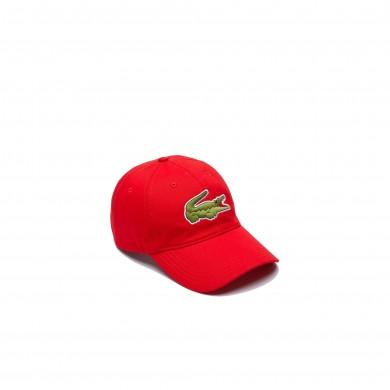 Lacoste Contrast Strap Crocodile Cotton Cap Red
