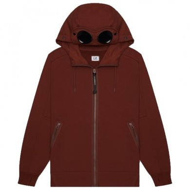 C.P. Company Zip Through Goggle Hoody Cinnamon