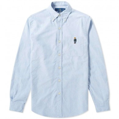 Polo Ralph Lauren Slim Fit Embroidered Bear Button Down Shirt Blue Bear