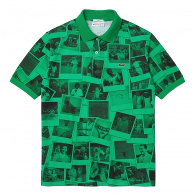 Lacoste x Polaroid Loose Fit Print Polo Shirt Green & Black