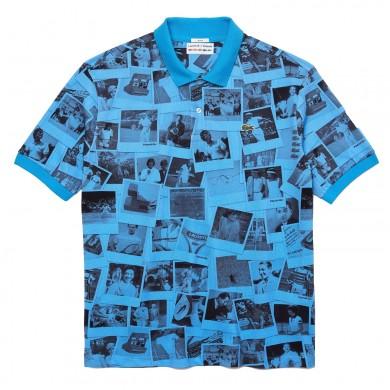Lacoste x Polaroid Loose Fit Print Polo Shirt Blue & Black