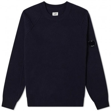 C.P. Company Arm Lens Lambswool Crew Knit Total Eclipse