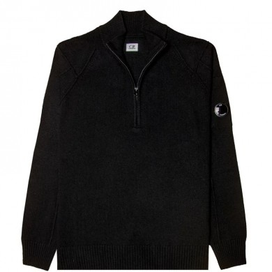 C.P. Company Lambswool Lens Half Zip Sweater Black
