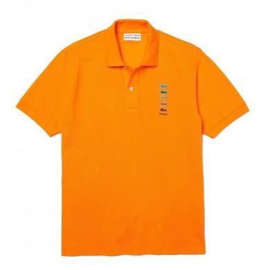 Lacoste x Polaroid Coloured Crocodiles Classic Fit Polo Shirt Orange